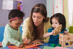 Kids and Caregiver a Daycare