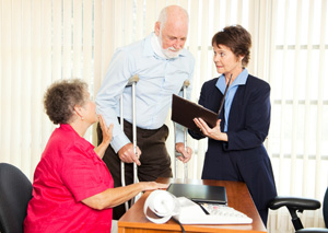 Injury Lawyer advising clients