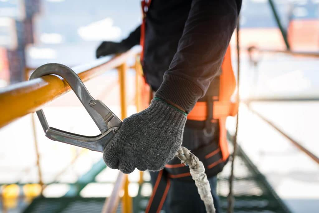 construction worker with safety clip