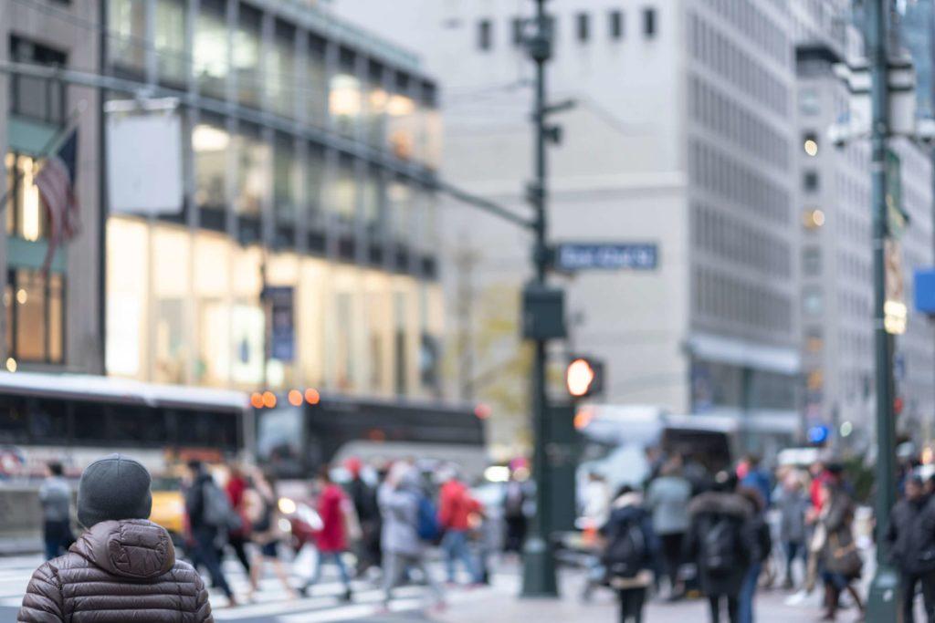 Busy street with pedestrians in Manhattan