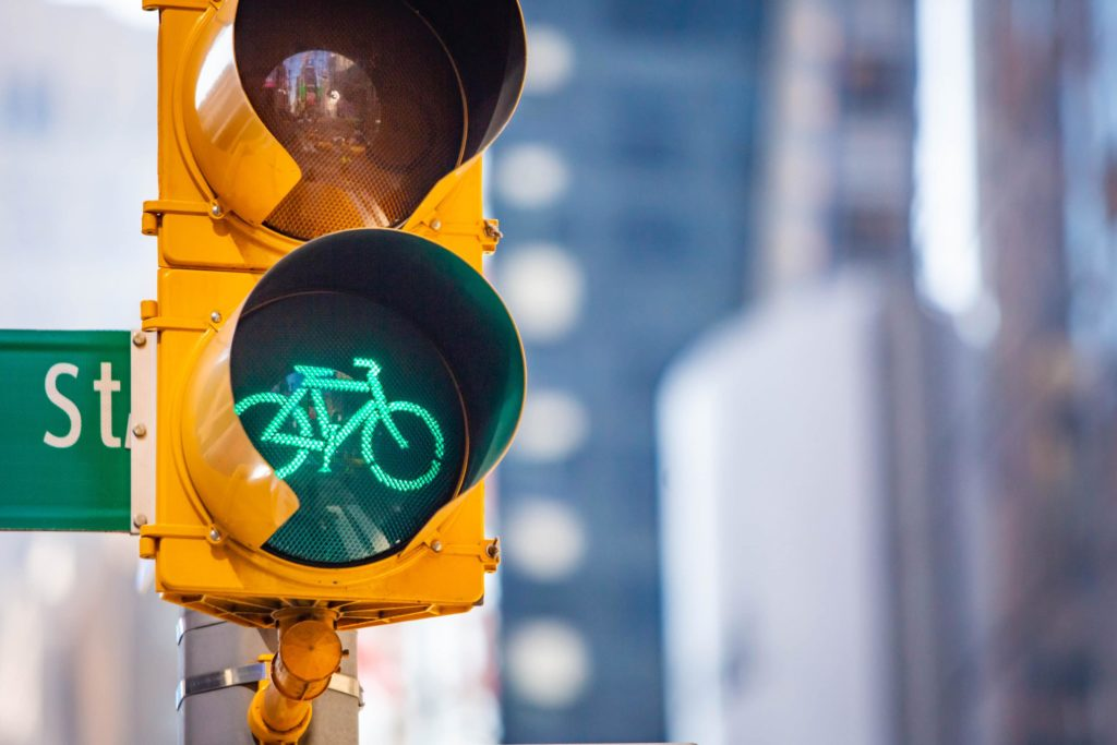 Green light for bicyclists on a traffic signal